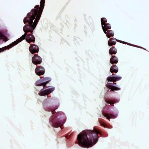Gray and Brown Wood Beaded Necklace